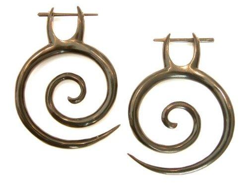 Beachcombers Organic Horn Spiral Tribal Stirrup Pin Earrings Body Jewelry 2
