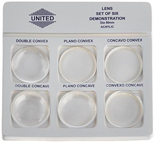 United Scientific Lsta50 Acrylic Demonstration Lens Set, 6 Pieces, 50Mm Diameter
