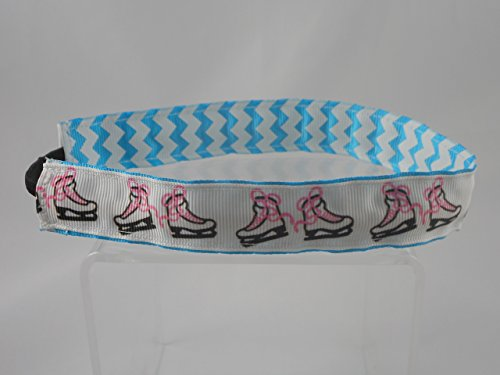 Ice Skate Headband, Stretch Reversible Headband, Sports Headband, Stretch Elastic Headband, Turquoise Chevron (Ice Skating Gifts For Girls compare prices)