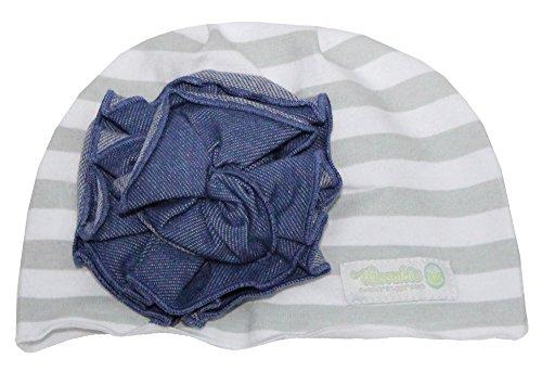 Woombie Cotton Flower Hats, Striped Hat Denim Flower, 0-6m