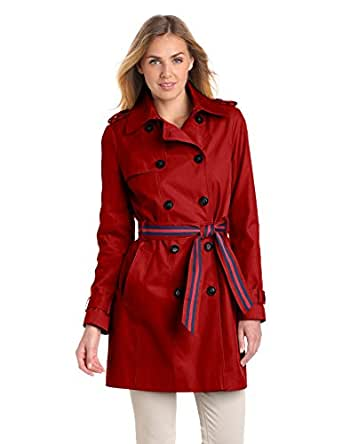 Tommy Hilfiger Women's Double Breasted Trench Coat with Striped Belt, Red, X-Large