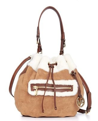 Michael Kors Benbrooke Large Drawstring Shoulder Tote Shearling Walnut