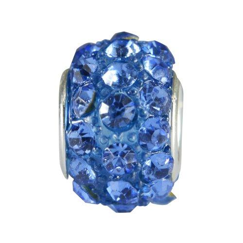 Heyjewels Women's Silver Tone Plate Bead With Blue Swarovski Element Crystal Compatible With Pandora, Chamilia, Troll, Biagi Bracelet Color Blue