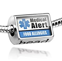 """Neonblond Beads Medical Alert Blue """"Food Allergys"""" - Fits Pandora Charm Bracelet by NEONBLOND Jewelry & Accessories"""