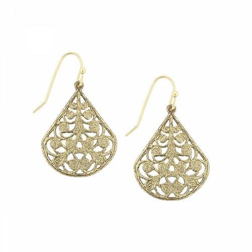 1928 Jewelry Brass Tone Vine Earrings