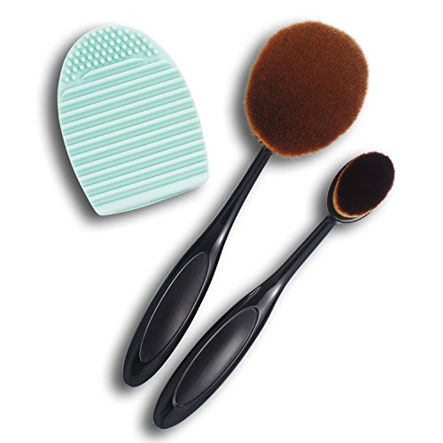 Zodaca 3 Pieces Makeup Brush Set, Oval Makeup Brush Toothbrush + Cleaning Makeup Washing Brush Egg Finger Cleaner For Cosmetic Foundation Cream Powder Makeup Tool, Black/Brown/Mint Green (Wet And Wild Bb Cream compare prices)