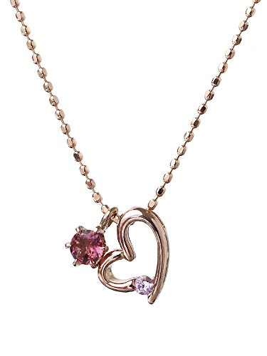 [Gift wrapping has been] pink tourmaline Pink Sapphire 10 gold Heart Necklace Heart gold necklace 10 k (ladies ladies) K10 pink gold open heart September October birth stone: Ma234
