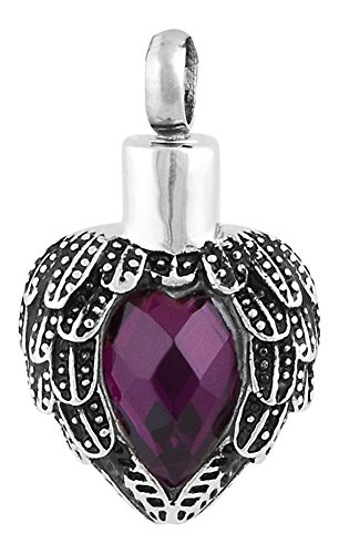 Perfect Memorials Angels Near Heart Stainless Steel Cremation Jewelry (Amethyst)