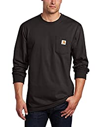 Carhartt Men\'s Workwear Pocket Long Sleeve T-Shirt Midweight Jersey Original Fit K126,Black,X-Large