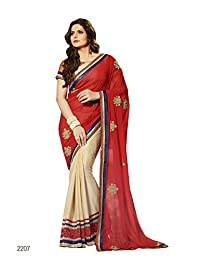 Aarti Latest Fashionable Party Wear Fancy Saree Bridal Embroidery Saree Wedding Wear Free Size - B00XA07YP6