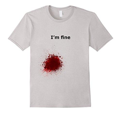 Men's I'm Fine Blood Stain Shirt Zombie Slash for Men and Women XL Silver
