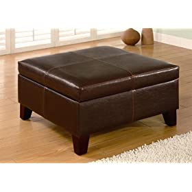 Dark Brown Square Storage Ottoman with Wood Legs