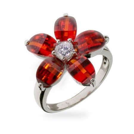 Designer Inspired Pretty Red CZ Sterling Silver Flower Ring Size 5 (Sizes 5 6 7 8 9 Available)