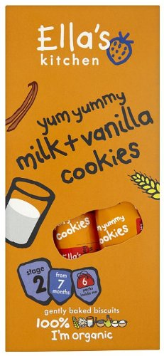Ella's Kitchen Stage 2 from 7 Months Organic Yum Yummy Milk and Vanilla Cookies 108 g (Pack of 6)