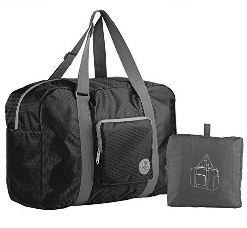 wandf-foldable-travel-duffel-bag-luggage-sports-gym-water-resistant-nylon-black