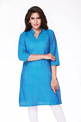 Weaves Pure Cotton Dobby Design Blue Kurti (Multicolor)