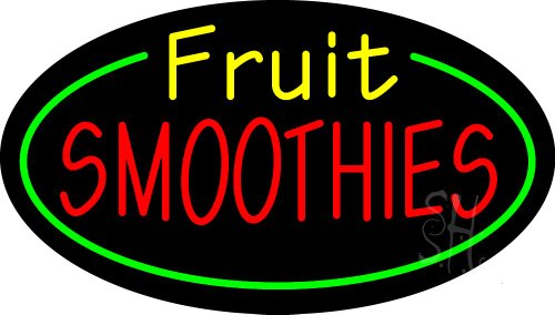 """Fruit Smoothies Animated Neon Sign 17"""" Tall X 30"""" Wide X 3"""" Deep front-607069"""