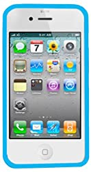 DECORO DPDIP4LBWT Premium Polka Dots TPU Case for Apple iPhone 4/4S - 1 Pack - Retail Packaging - Blue/White
