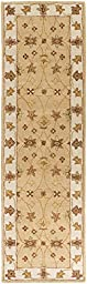 Beige Rug Classic Design 2-Foot 3-Inch x 10-Foot Hand-Made Traditional Wool Carpet