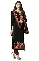 Khoobee Presents Embroidered Cotton Dress Material (Black,Maroon)