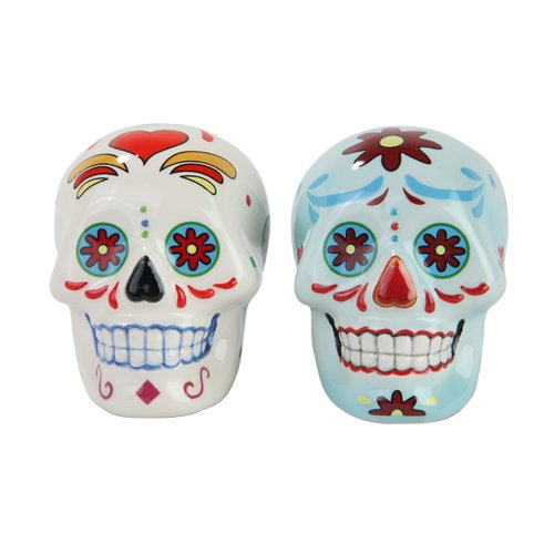 Day of the Dead Sugar Skull White & Blue Skulls Salt & Pepper Shakers Set