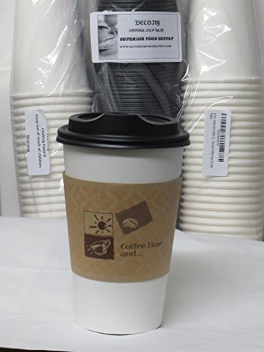 16 Oz. White Hot paper Coffee Cup With Lid ans sleeves - 100 set +10 plastic clip on handles