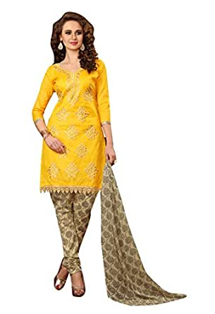OOMPH! Women Cotton Unstitched Dress Material (rbad_bul009_Yellow_Free Size)