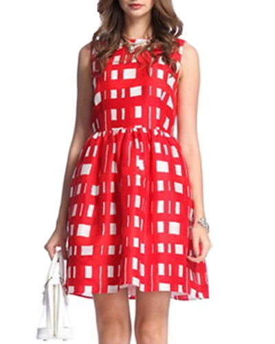 HaboZoo Womens Sleeveless Crewneck Red Check Printed Pleated Dress