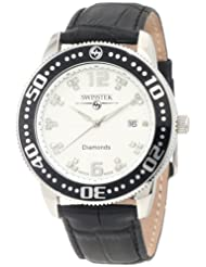 Swisstek SK27723G Limited Edition Diamond Swiss Watch With Leather Strap And Sapphire Crystal