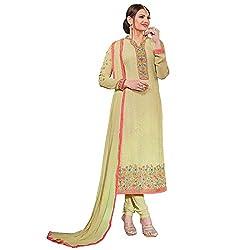 Momai Creation Women's Faux Georgette Green Unstitched Dress Material (MCV-Prachi-1003)