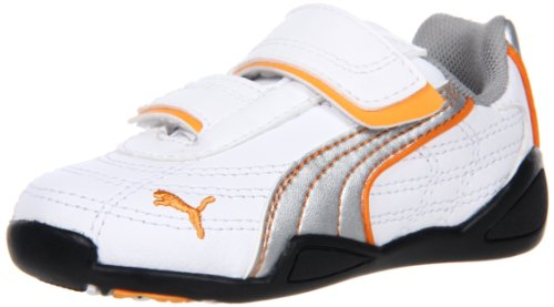 Puma Tune Cat B V Kids Sneaker (Toddler/Little Kid),White/Puma Silver/Blazing Orange,8 M US Toddler