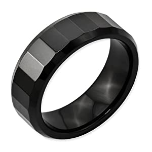 Ceramic Beveled Edge Black Faceted 8mm Polished Band