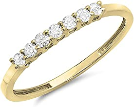 025 Carat ctw 18k Gold Round Diamond Ladies 7 Stone Anniversary Wedding Band Stackable Ring 14 CT