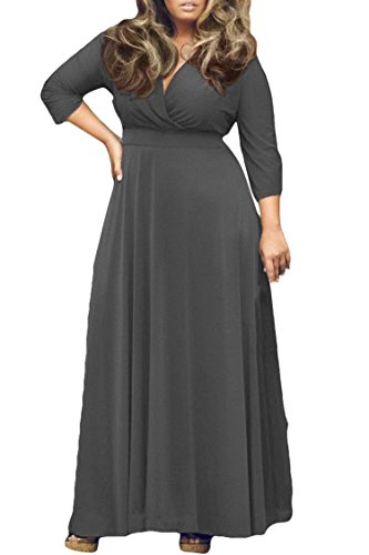 Women's Solid V-Neck 3/4 Sleeve Plus Size Evening Party Maxi Dress XXL Grey