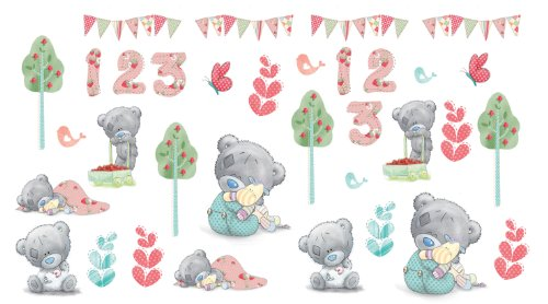 FunToSee Teddy Bear Nursery Wall Decals, Pastel - 1