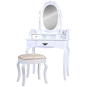 coiffeuse blanc avec tabouret 3 tiroirs miroir pivotant 146 x 76 x 40 cm bois amazon. Black Bedroom Furniture Sets. Home Design Ideas