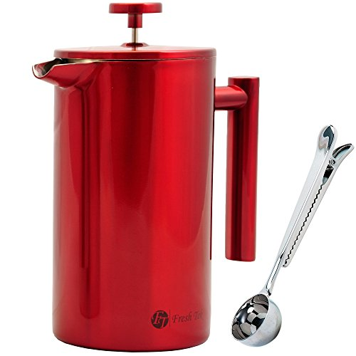 Best Stainless Steel French Press Coffee Espresso Maker With Markings. Won't Break Like Your Glass One! Large, Insulated for Hot Coffee or Tea. 34oz Pot Plus Bonus Scoop and Polishing Cloth. Red. (Keurig Cutter compare prices)