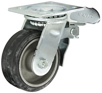 "E.R. Wagner Plate Caster, Swivel with Total-Lock Brake, Rubber on Aluminum Wheel, Roller Bearing, 350 lbs Capacity, 5"" Wheel Dia, 2"" Wheel Width, 6-1/2"" Mount Height, 4-1/2"" Plate Length, 4"" Plate Width"