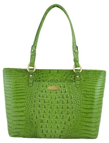Medium Alden Croc Embossed Bag Pistachio: Brahmin Handbags Outlet