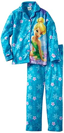 Komar Kids Girls 2-6X Pretty Tinker Bell Long Sleeve Disney 2 Piece Pajama Set, Blue, 6/6x