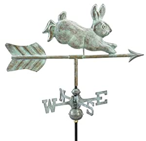 "12"" Grand Luxury Handcrafted Blue Verde Leaping Rabbit Garden Weathervane"