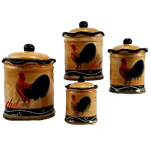 amazon com 4pc canister set country rooster decor