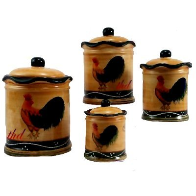 4PC CANISTER SET, COOKIE JAR COUNTRY ROOSTER DECOR