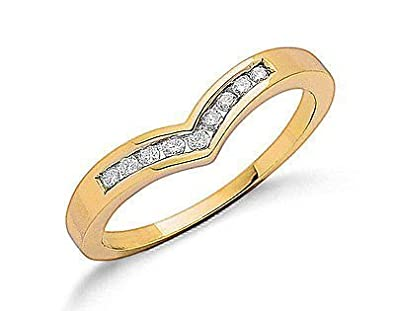 J R Jewellery 411400 9ct Yellow Gold 0.15CTW Real Diamond Rounds Wishbone Eternity Ring