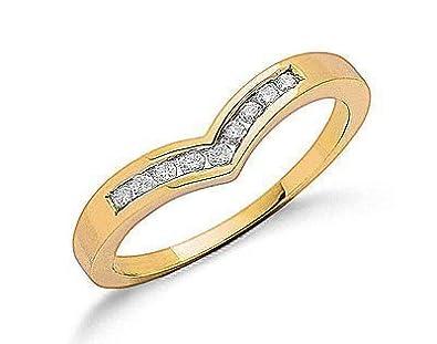 J R Jewellery 411400 9ct Yellow Gold 0.15CTW Real Diamond Rounds Wishbone Eternity Ring