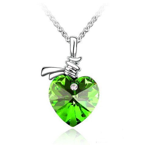 Swarovski Elements Pendant Necklace with Green Crystal Heart set with a cz stone on a 16 inch Chain. We have other colours & styles Available. Only at Nambeads..