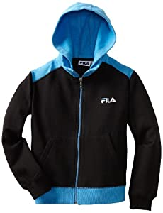 Fila Boys 8-20 Fleece Hoodie, Bright Blue/Black, 10/12