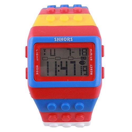 Smart Applied Shhors Lady'S Retro Digital Fasion Fancy Design Led Wrist Watch Rainbow Color