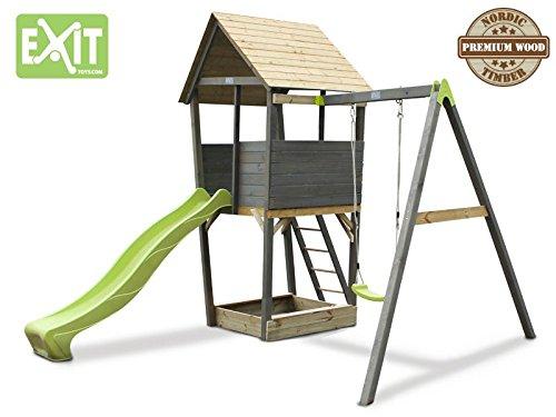 EXIT Aksent Spielturm mit Einzelschaukel / mit Aussichtsplattform, Sandkasten, Rutsche+Leiter / Nordisches Fichtenholz / 320x323x296 cm