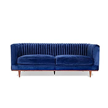 Edloe Finch FOXLEY Blue Velvet Sofa - Midcentury Modern Sofa for Living Room - Channel Tufted